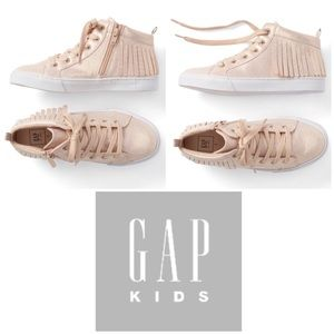 Up Sneakers Round Toe Easy Pull On Gap Kids Girl/'s Silver Glitter Hi-Top Lace